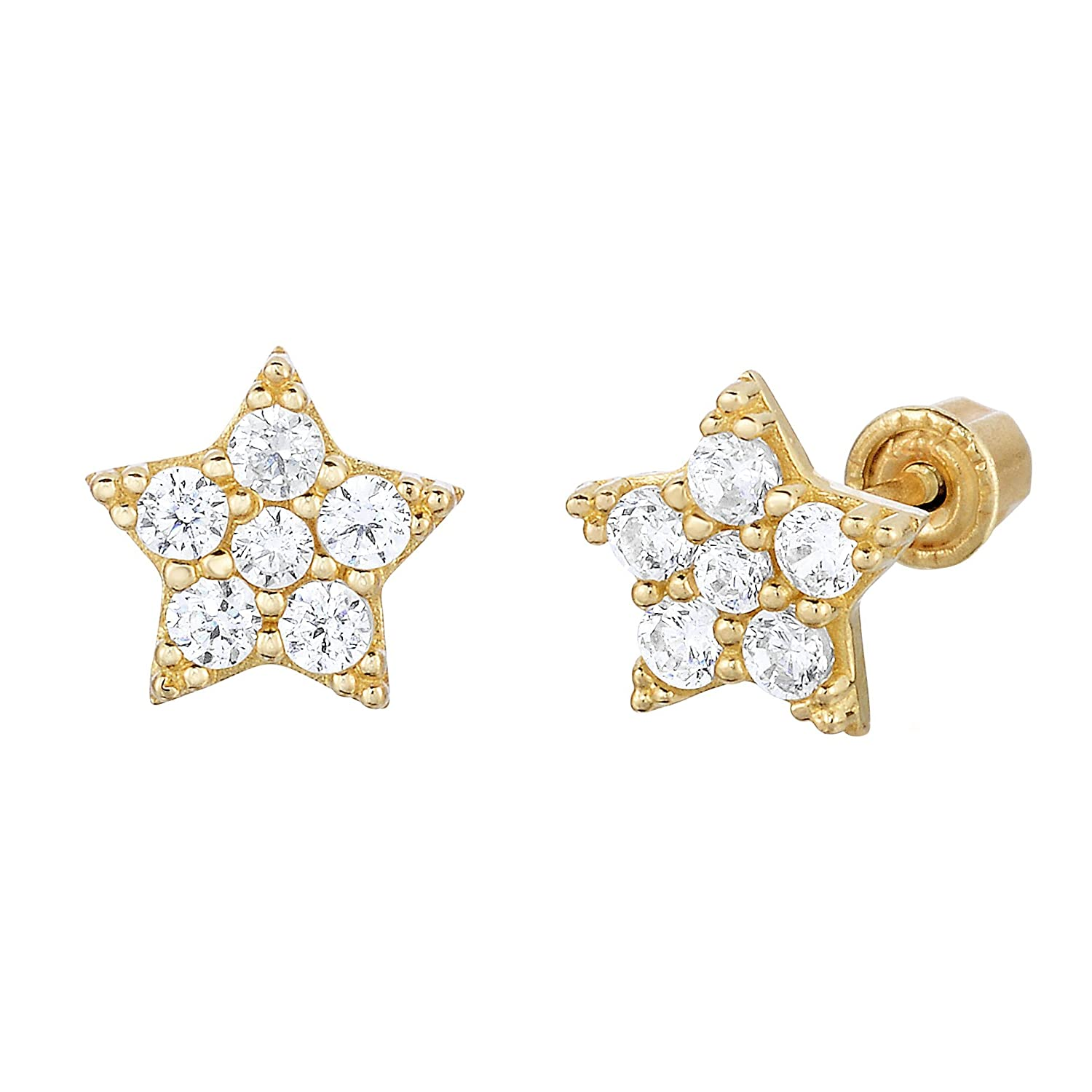 14k Gold Small Star shaped CZ Stud Earrings with Secure Screwbacks NY Gold /& Silver Trading Inc TLE4892GCZ