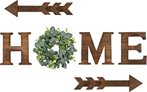 Rustic Wooden Home Sign 9.8'' Home Wall Decor with Eucalyptus Wreath for O Wood Letter and 2 pcs Arrow Wall Decor, Home Sweet Home Sign as Rustic Wall Art