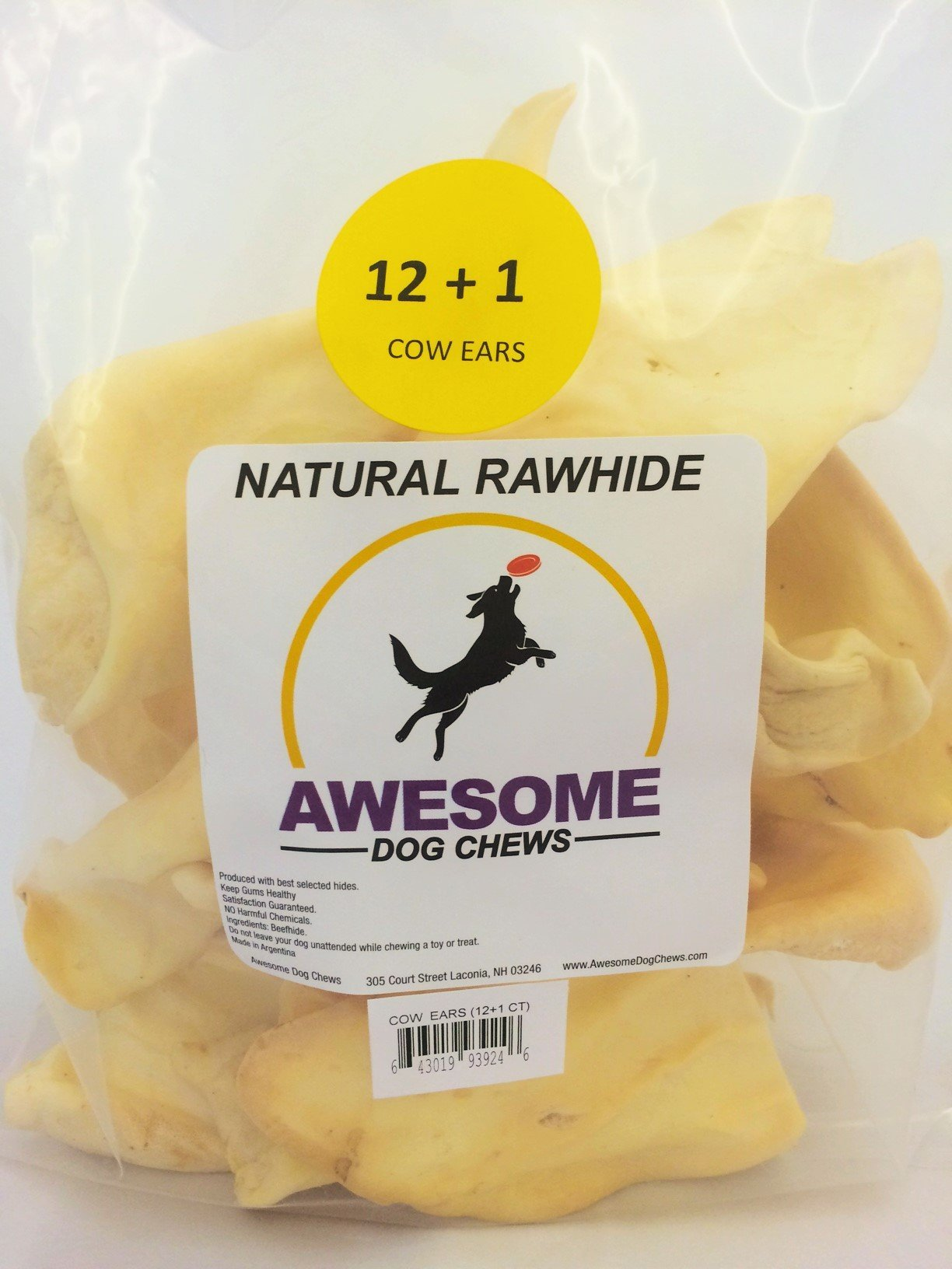 100% Awesome Dog Chews All Natural Cow Ears 12 + 1 FREE Count - FDA / USDA Inspected Through a Registered FDA Plant