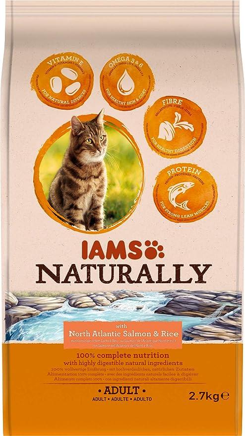 IAMS Naturally - Comida seca para gatos adultos con Salmón ...