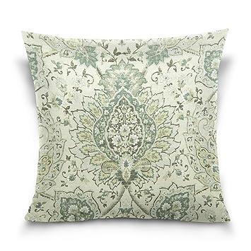 Amazon.com: Verdes hojas algodón almohada sofá almohadas ...
