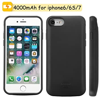 Mbuynow 4000mah Funda Batería Recargable para iPhone Batería Externa para iPhone 6/6S /7 - Negro