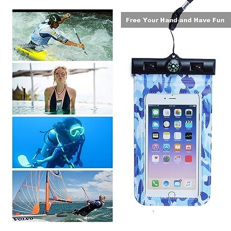 KELYDI Casos de teléfono a prueba de agua, agua del caso de prueba de teléfono de la bolsa submarino seco Bolsas para iPhone X/8/7plus/6s Samsung ...