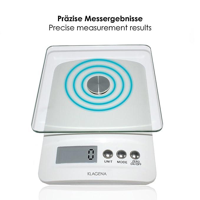 KLAGENA balanza digital de cocina con pantalla LCD, blanca, hasta 5 kg - balanza electrónica/balanza de cocina/balanza digital: Amazon.es: Hogar