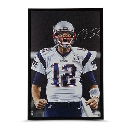 7fa994613 Tom Brady Signed Autographed Framed 36X24 Canvas Photo Up Close ...