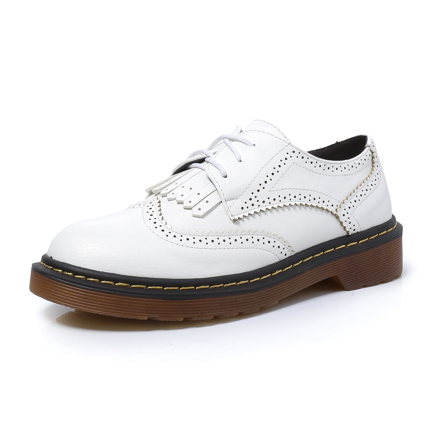 Smilun Girl¡¯s Derby Classic Lace-up Shoes Leather Flats Leather Office Business Dress Shoes for Girl White Size 6 B(M) US