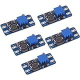 Anmbest 5個セット MT3608ステップアップ調整可能なDC-DCスイッチングブーストコンバータ電源モジュール2-24V〜5V-28V 2A