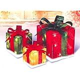PENN 52-820-066 3-Piece Glistening Gift Box Lighted Christmas Yard Art Decoration Set