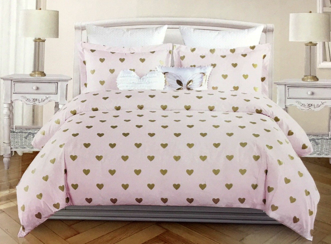 Nicole Miller All Season Girls 5-Piece FULL/QUEEN Comforter Set | Glittering Metallic Gold Hearts on Pink | Machine Washable by NMiller Home for Kids