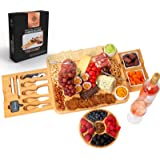 Organic Bamboo Cheese Cutting Board & Knife Gift Set Cheese Platter Serving Tray Perfect as House Warming Presents…