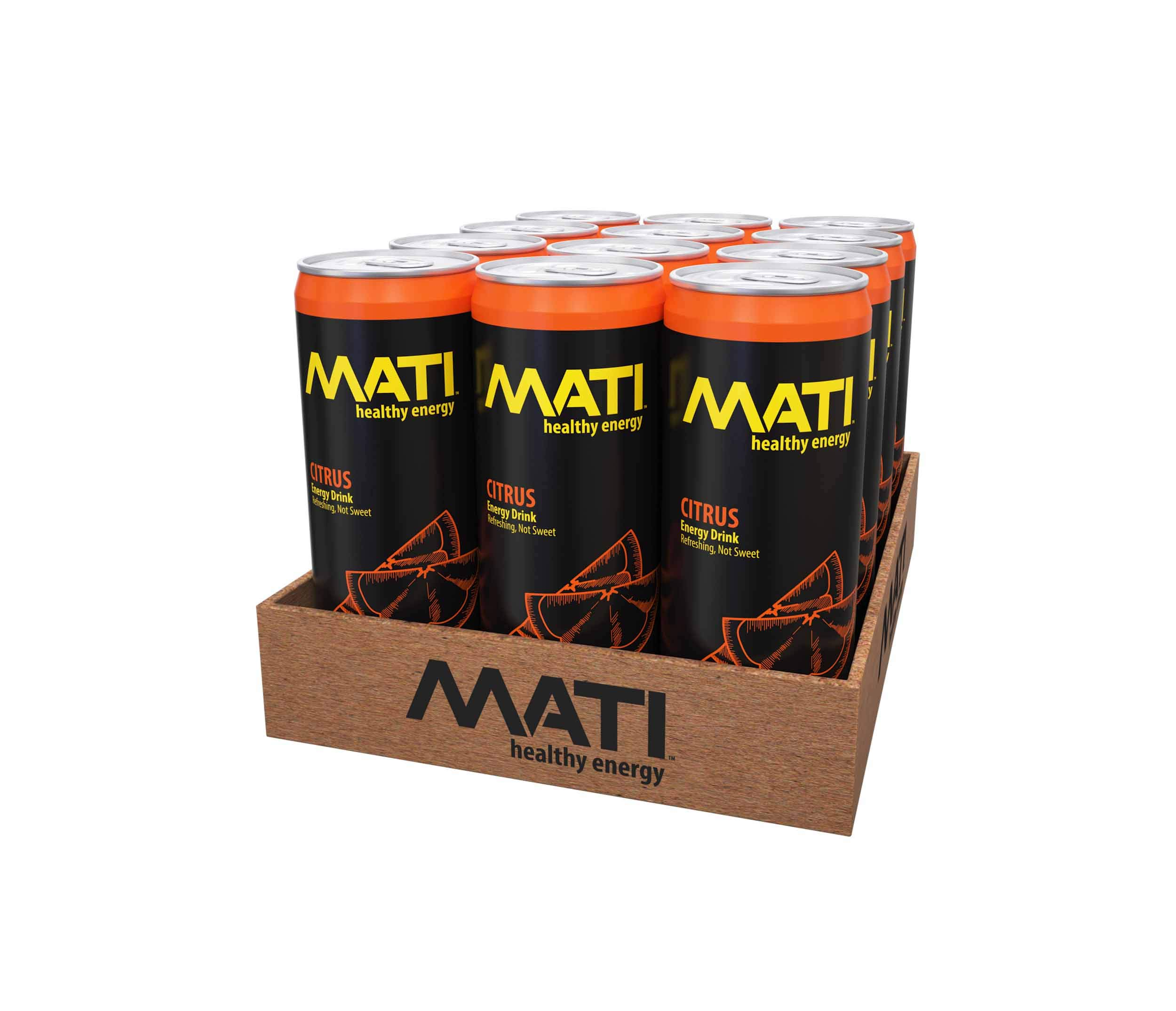 MATI | Natural Healthy Energy Drink | Low Calorie Option | Citrus Flavor | 12 Pack