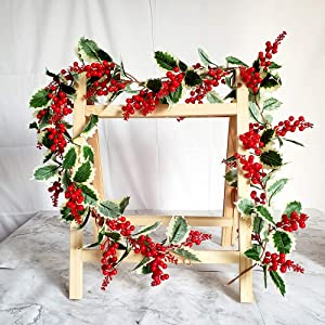 TRvancat 6FT Red Berry Christmas Garland, Artificial Dense Berry Garland with Green Leaves for Indoor Outdoor Fireplace Christmas Holiday New Year Decor