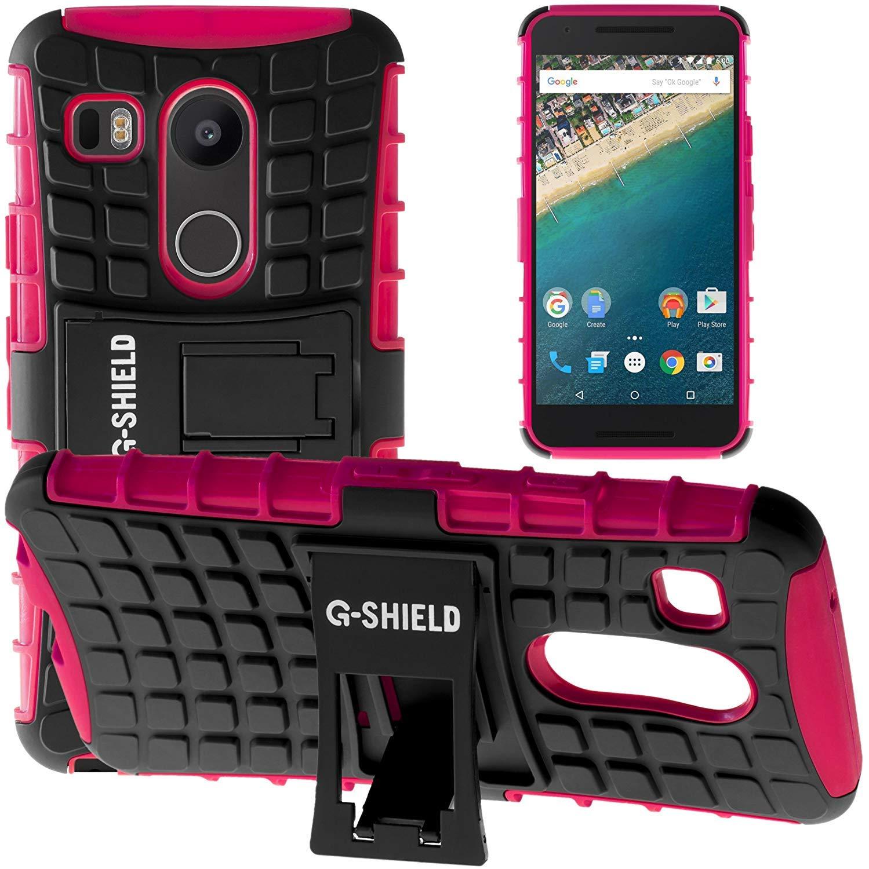 G-Shield Funda para LG Google Nexus 5X, Carcasa Protectora Anti-Arañazos con Soporte, Rosa