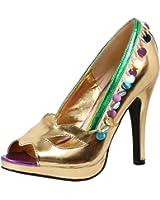 Womens Gold Peep Toe Pumps Green Trim Masquerade Costume Shoes 4 Inch Heels