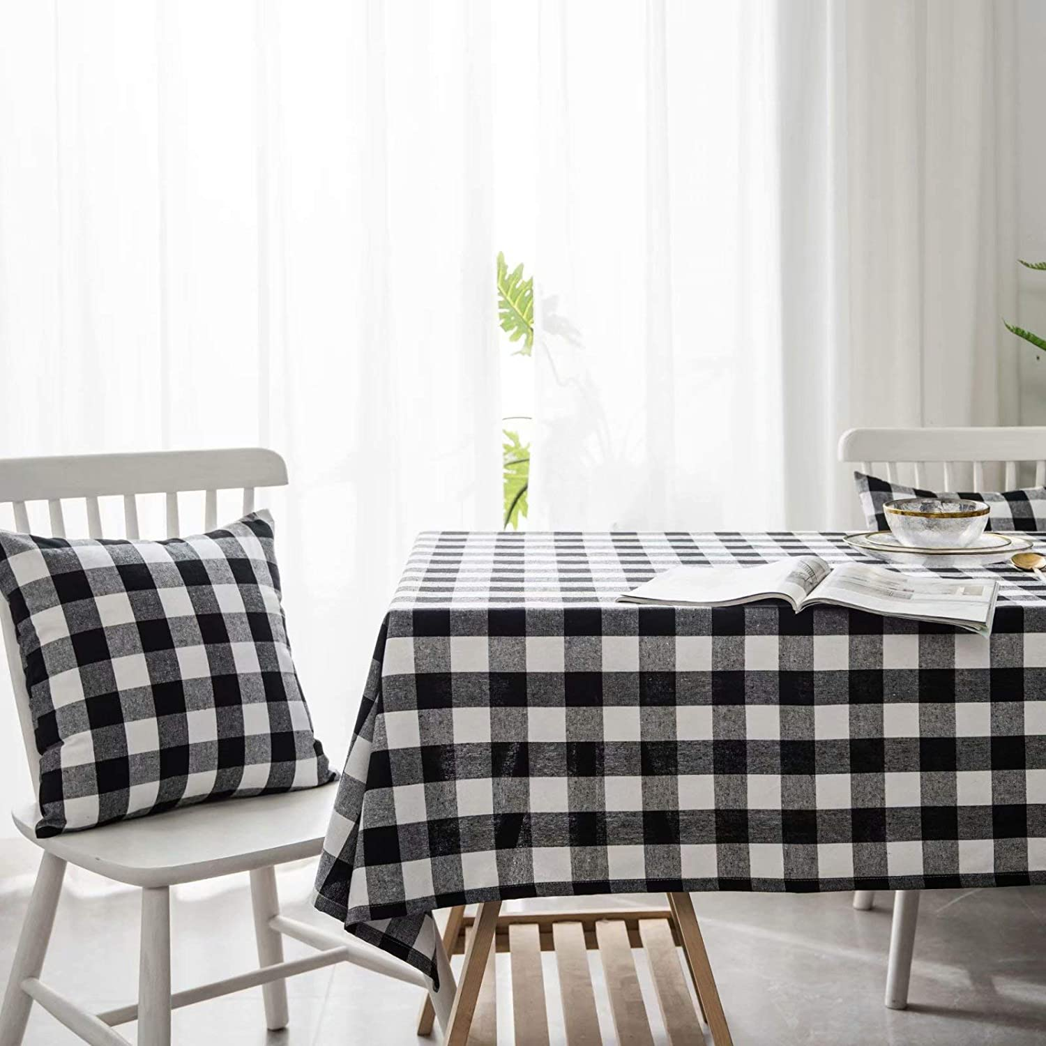 Rectangle - 24 x 24 Cotton Linen Table Cover Kitchen Dining Room Restaurant Party Decoration YQ Park Red and White Buffalo Check Plaid Tablecloth
