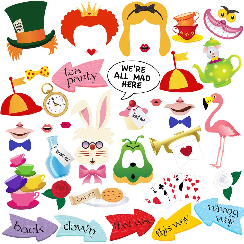 BizoeRade 40pcs Alice Party Photo Booth Props perfect for Alice In Wonderland Party Alice In Wonderland Photo Booth Props Girls Party Alice In Wonderland Party Supplies good for Tea Party Decorations Kids Birthday