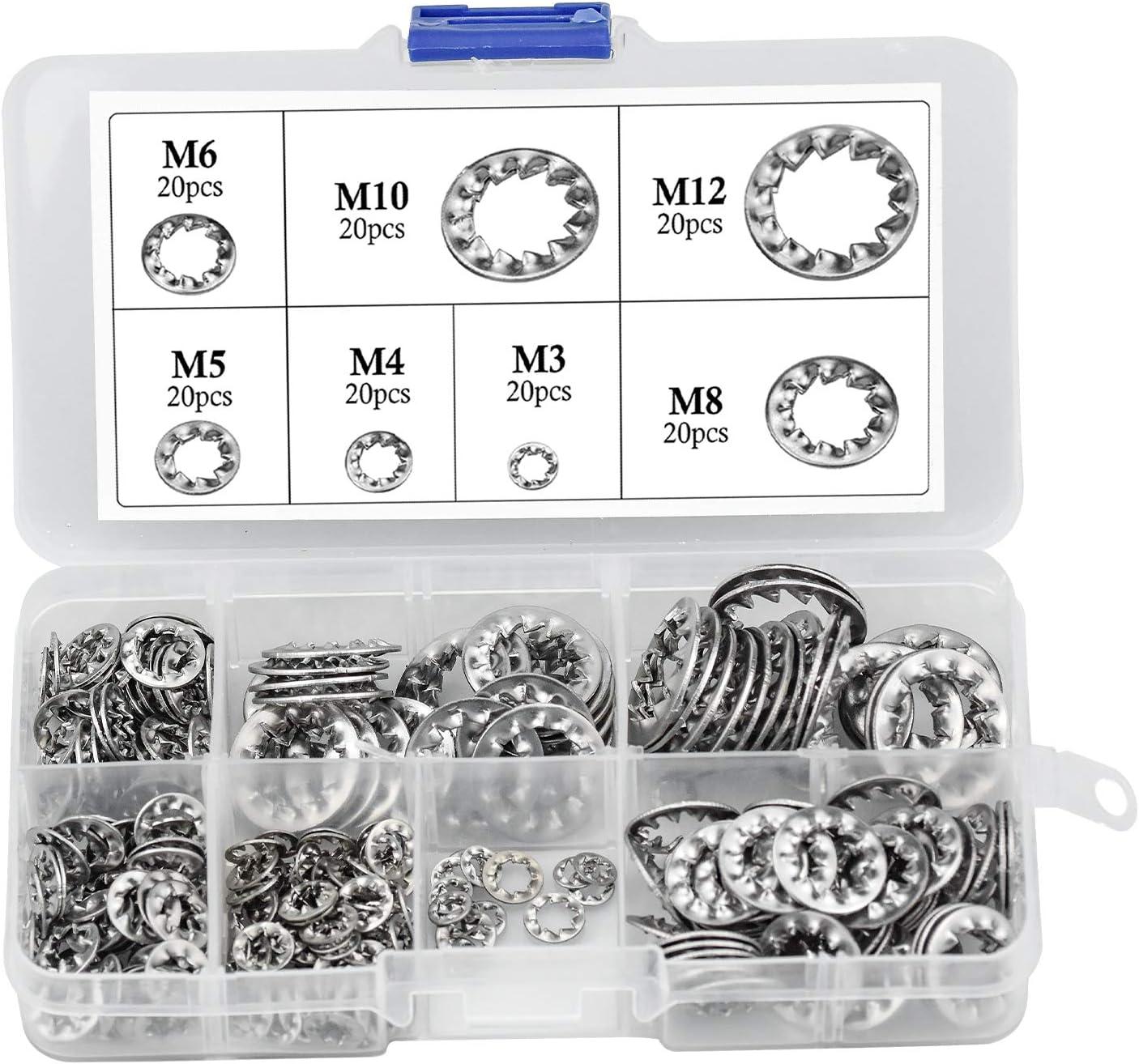 270 Piezas Arandelas de bloqueo de dientes internos acero inoxidable Arandelas de seguridad de M3 M4 M5 M6 M8 M10 M12 Kit