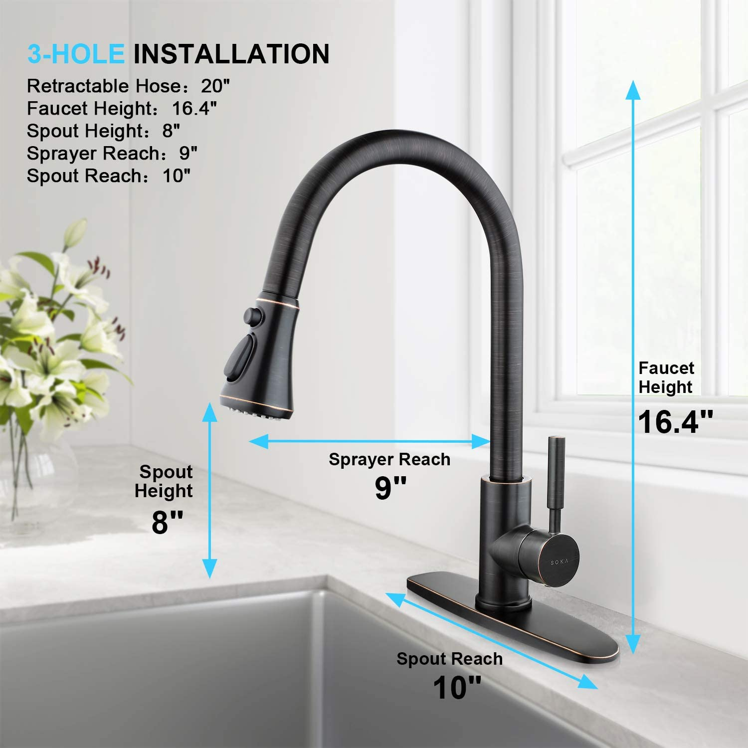Stream /& Spray Fit for One /& 3 Hole SOKA Single Handle Kitchen Faucet Stainless Steel High Arc Modern Style Aquablade Sweep