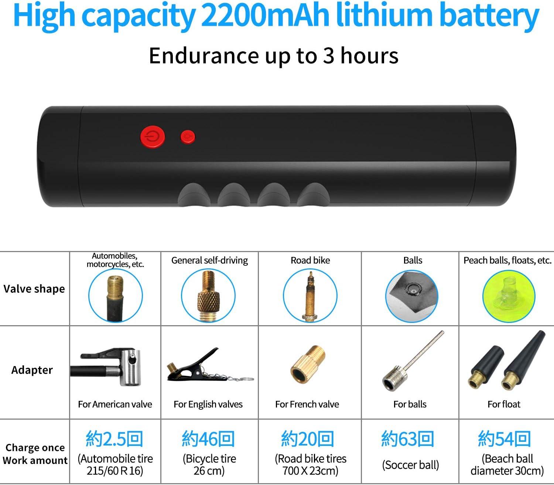 120PSI Mini Compresseur Gonfleur Electrique Digital avec Grand Ecran LCD Lampe LED /à Batteire Rechargeable de Lithium-lon 2200mAh Compresseur d/'Air Portatif 12V