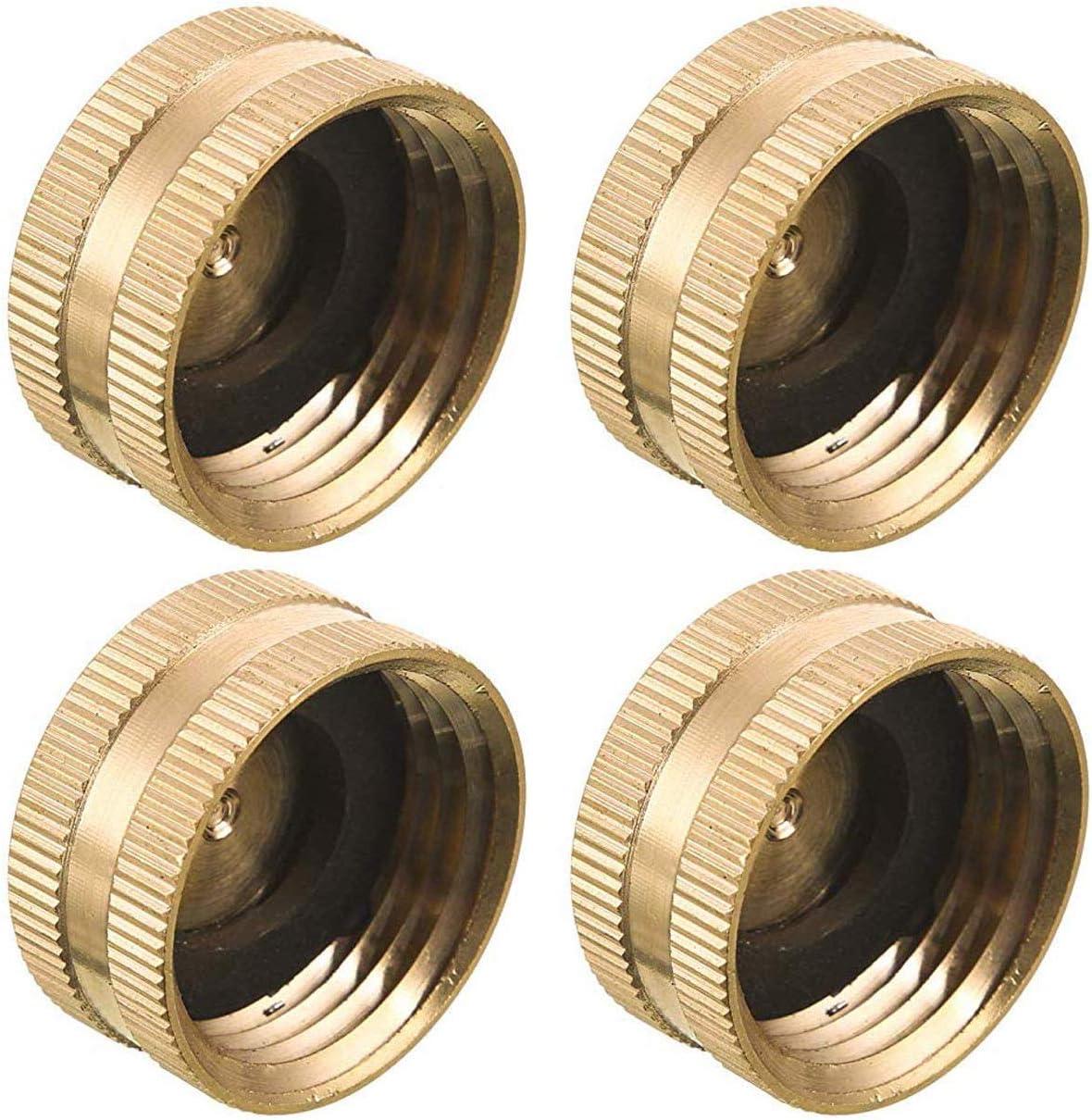 cozyou 4 Pack Brass Hose Cap Garden Hose Female Thread End Cap Connector