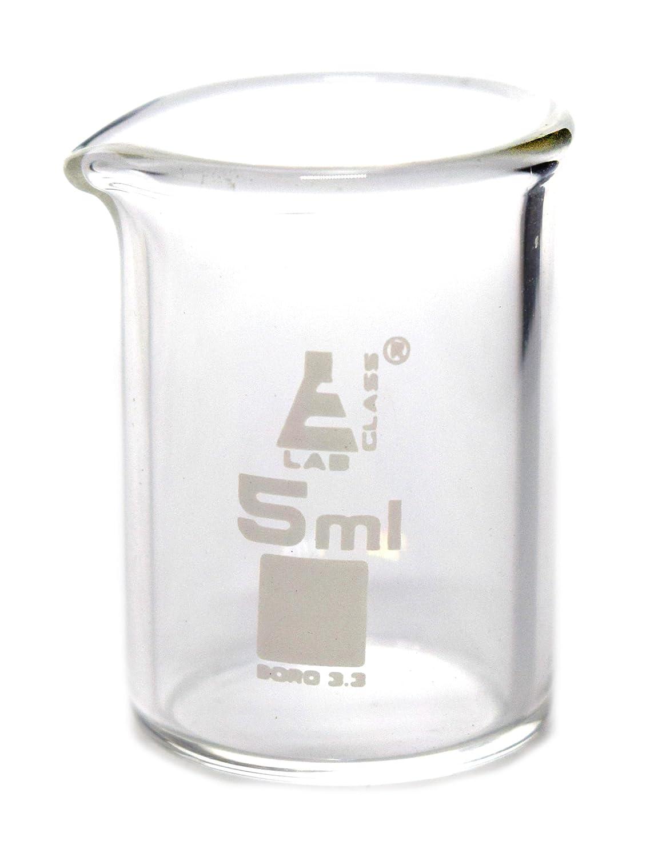 5ml Beaker, Low Form, Borosilicate Glass Spout, 1.25' (30mm) Tall, 0.75' (22mm) Diameter - Eisco Labs 1.25 (30mm) Tall 0.75 (22mm) Diameter - Eisco Labs