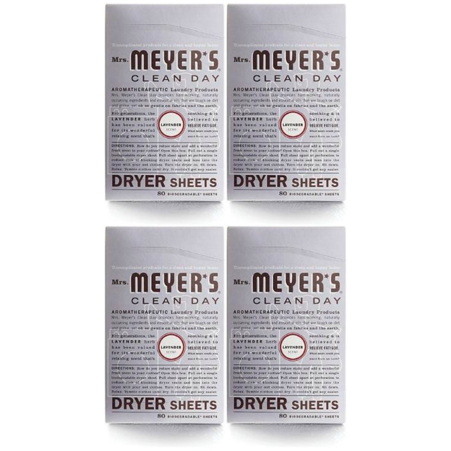 Mrs. Meyer's Clean Day Dryer Sheets - Lavender - 80 ct - 4 pk