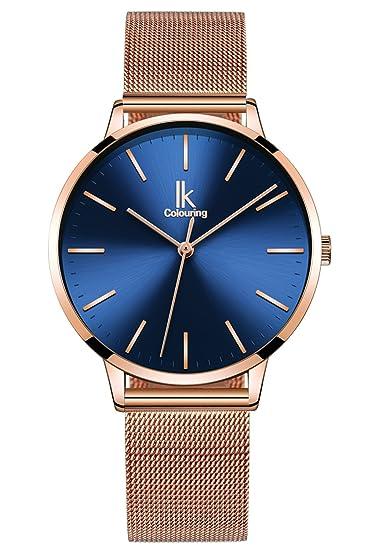 Amazon Com Erbida Rose Quartz Watch Gold Tone Stick Index Blue