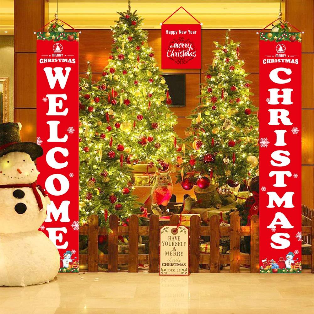 sunvito Decorazioni di Natale Outdoor Indoor, 2 Pezzi di Benvenuto Buon Natale Portico Segno Banner Door, Benvenuto Decorazioni per Porta di Natale Decor (Welcome Christmas)