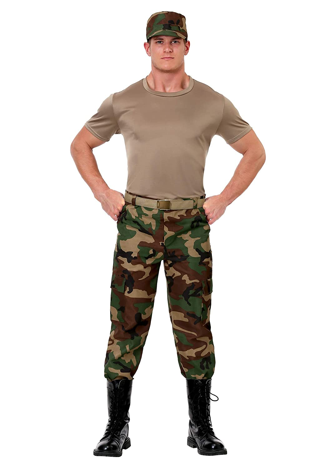 Large Men's Camo Soldier Costume Large