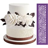 """ART Kitchenware 19""""×5.12"""" Large Alencon Lace Mesh Stencil Lace Floral Cake Stencil Wedding Cake Side Stencils Template Mold Cake Decorating Bakery Tool MST-42 Purple Color"""