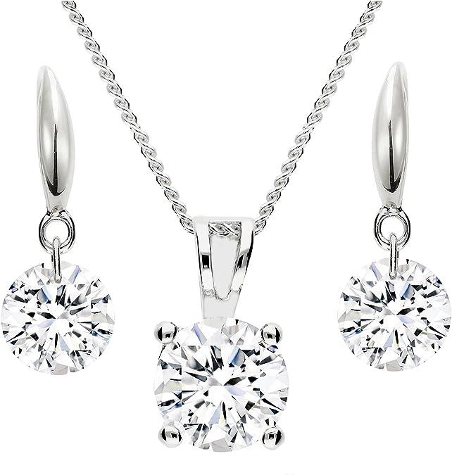 MYA art Damen Schmuckset Kette Set Ohrringe 925 Silber mit Swarovski Elements oder Zirkonia Stein