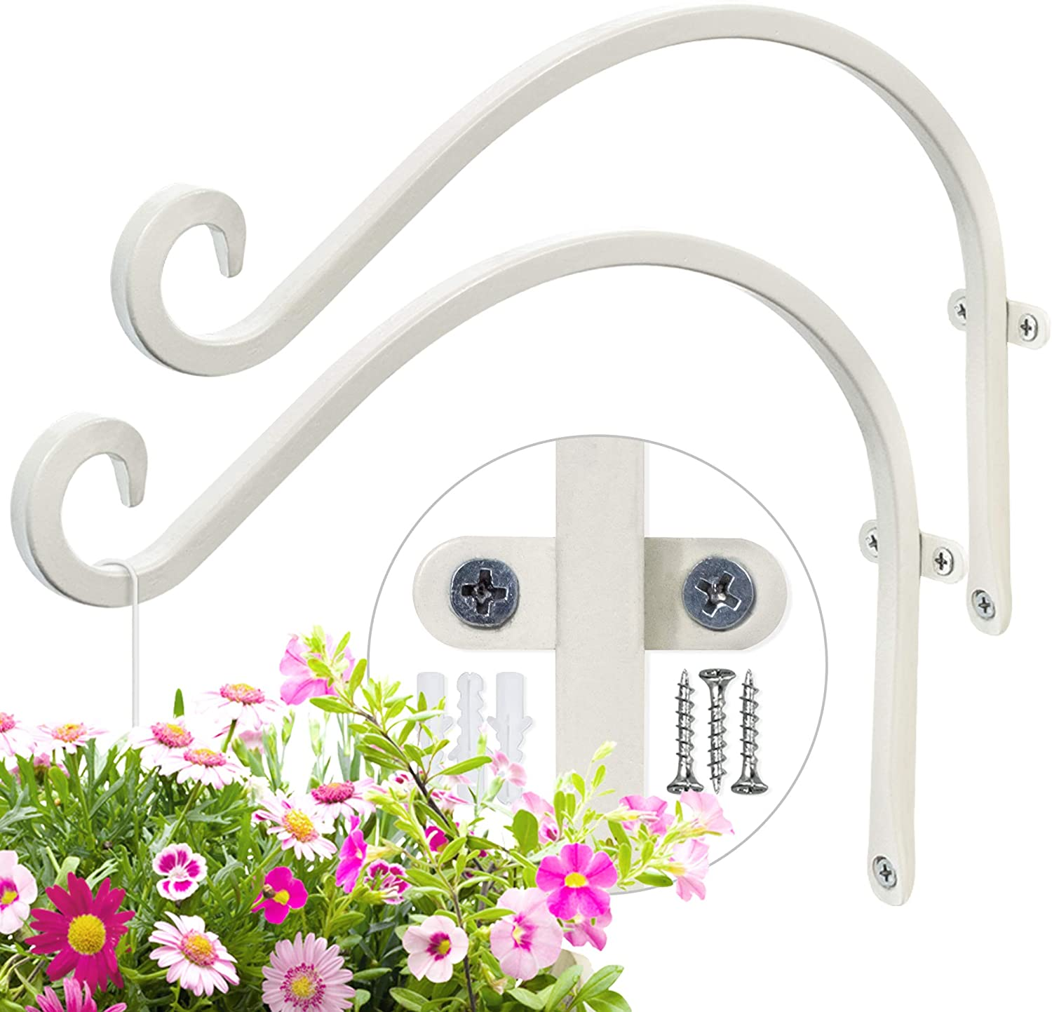 AJART Plant Hooks for Wall (2 Pieces-12Inches) Wall Hooks for Hanging Plants More Stable and Sturdy Cream-White Plant Hook.