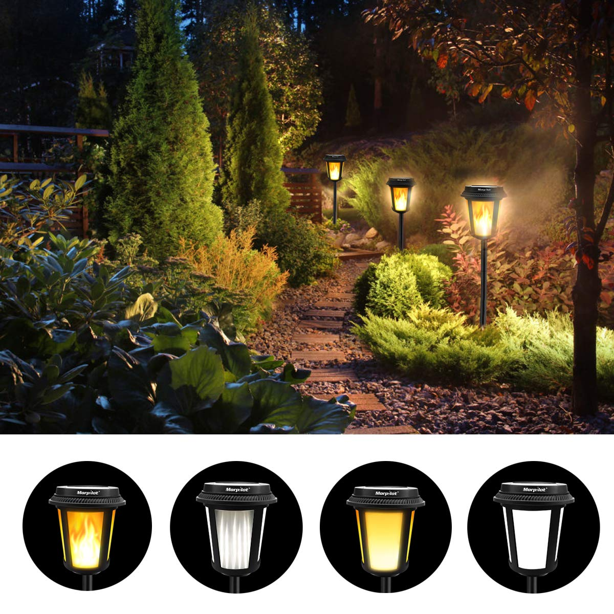Keenstone Solar Torch Lights | Versatile Solar Path Light Outdoor Waterproof Dual Modes Solar Light Landscape Decoration Lighting Dusk to Dawn Auto On/Off (2 Pack)