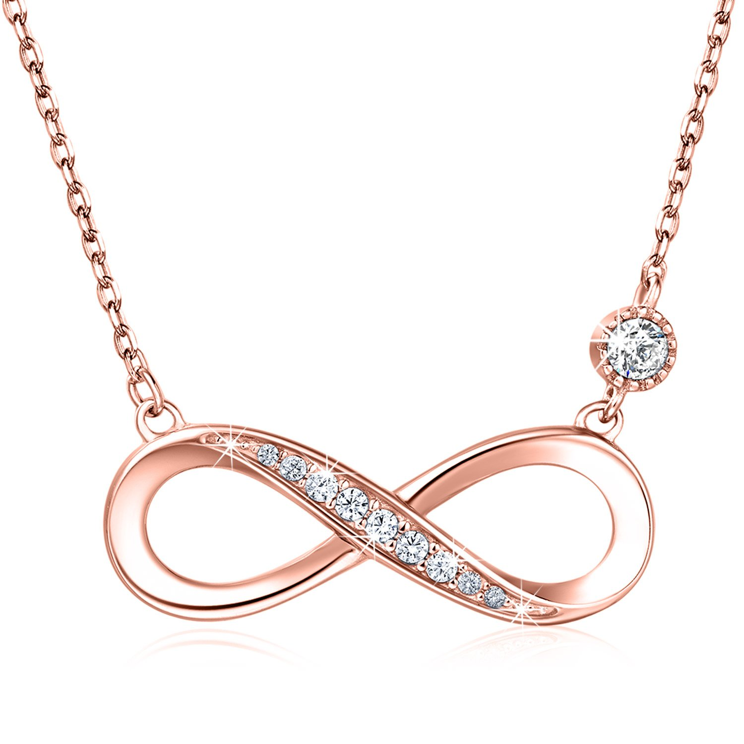 "Billie Bijoux 925 Sterling Silver Necklace Forever Love"" Infinity Heart Love Pendant White Gold Plated Diamond Women Necklace Gift for Women Mom (Rose Gold)"