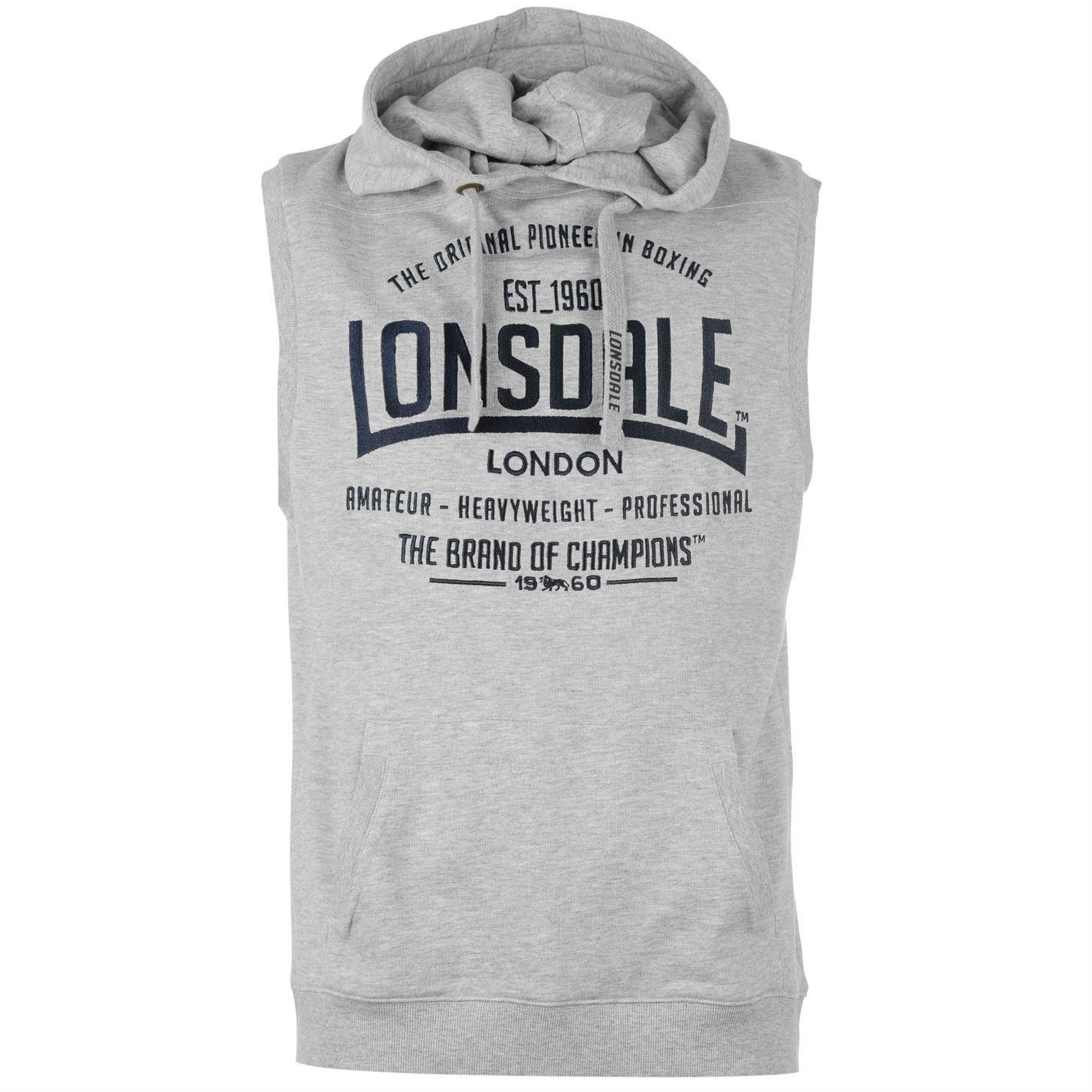 Lonsdale Mens Box Sleeveless Hoody Boxing Hoodie Hooded Sweatshirt Top