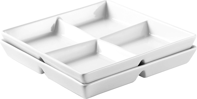 Bruntmor 10 x 10 inch Decorative Ceramic Appetizer 4 -Compartment Serving Platter Tray, set of 2, White