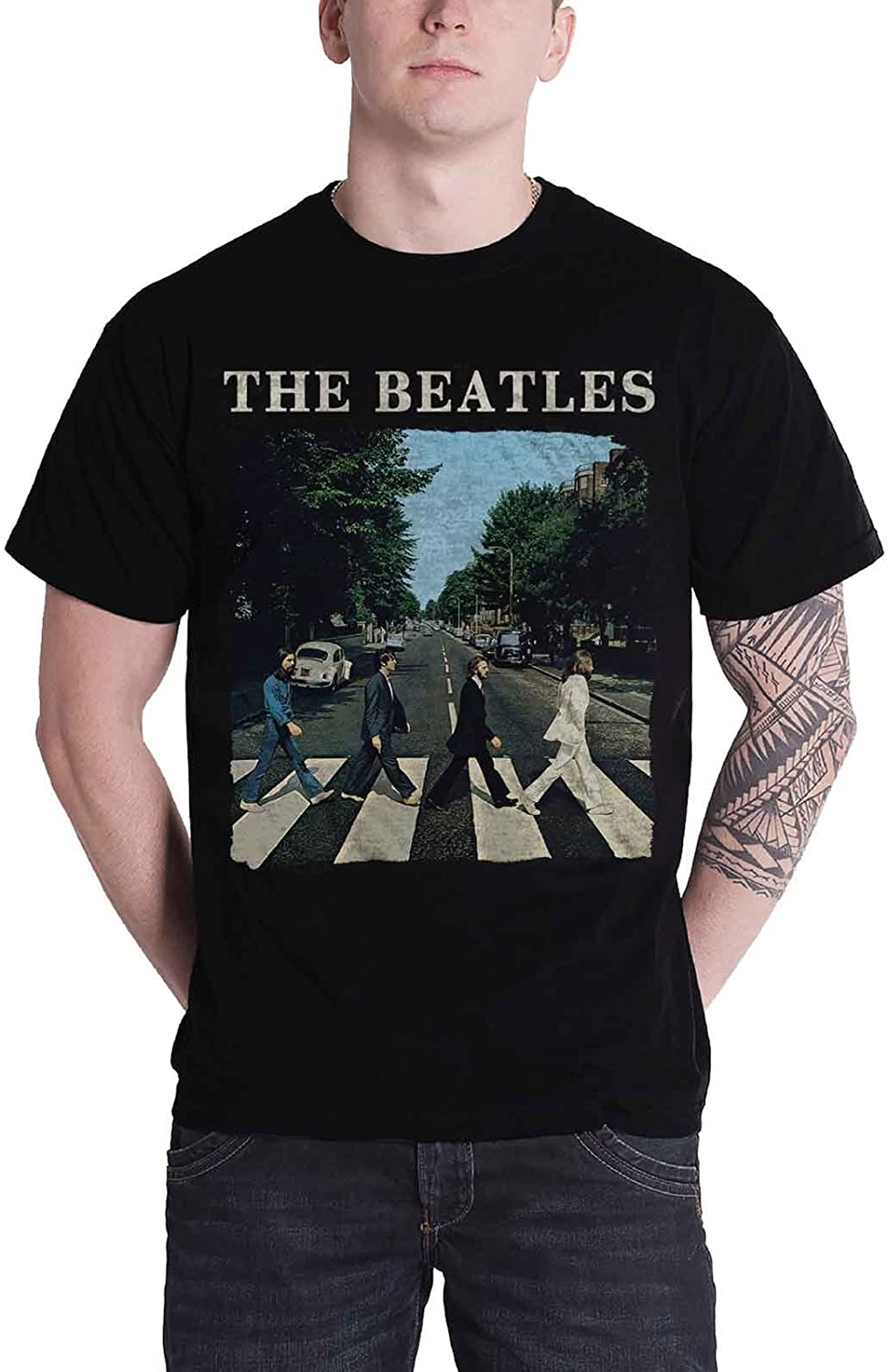 The Beatles T Shirt Abbey Road Crossing Band Logo Official Apple Mens Black Size XL