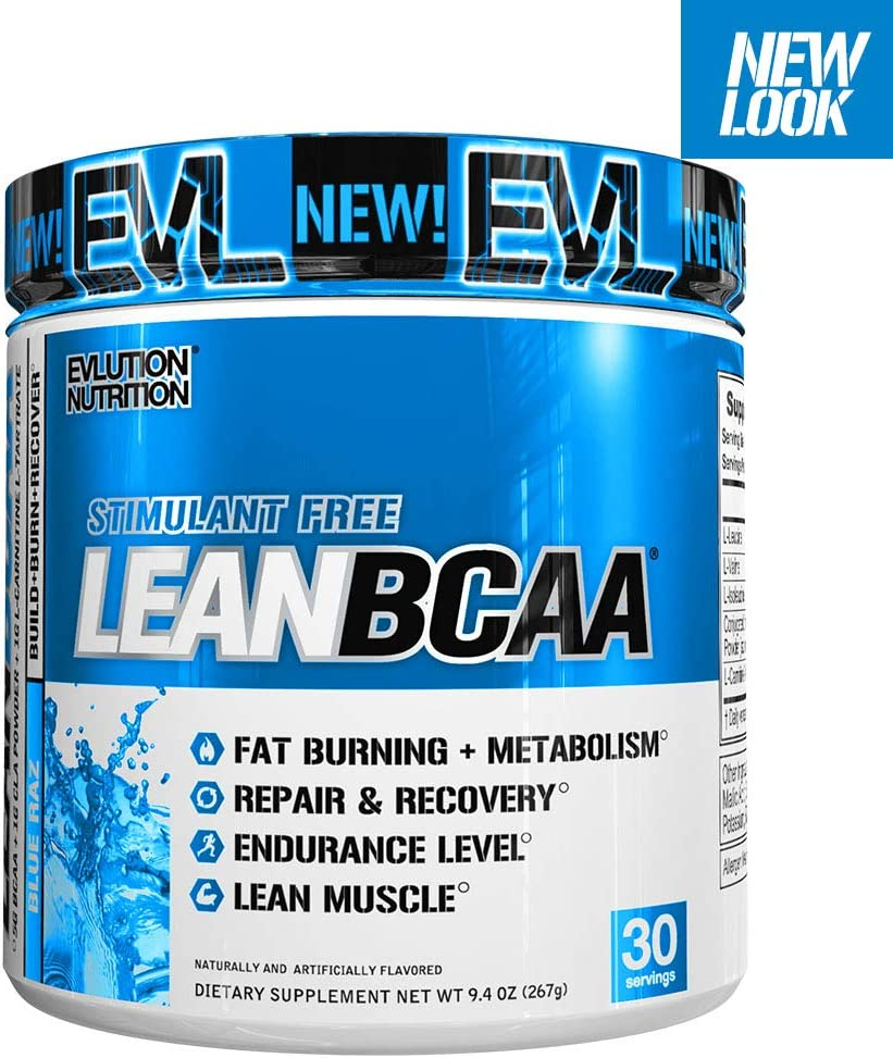 Evlution Nutrition LeanBCAA, BCAA s, CLA and L-Carnitine, Stimulant-Free, Recover and Burn Fat, Sugar and Gluten Free, 30 Servings Blue Raz