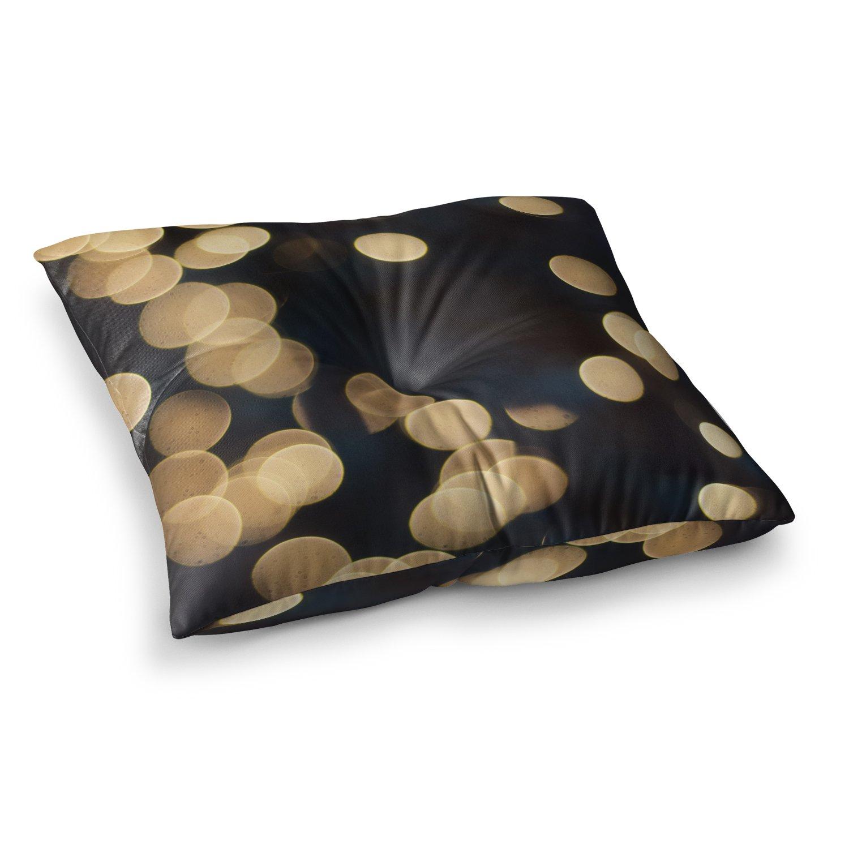 Kess InHouse Cristina Mitchell Blurred Lights Black Gold 23 x 23 Square Floor Pillow