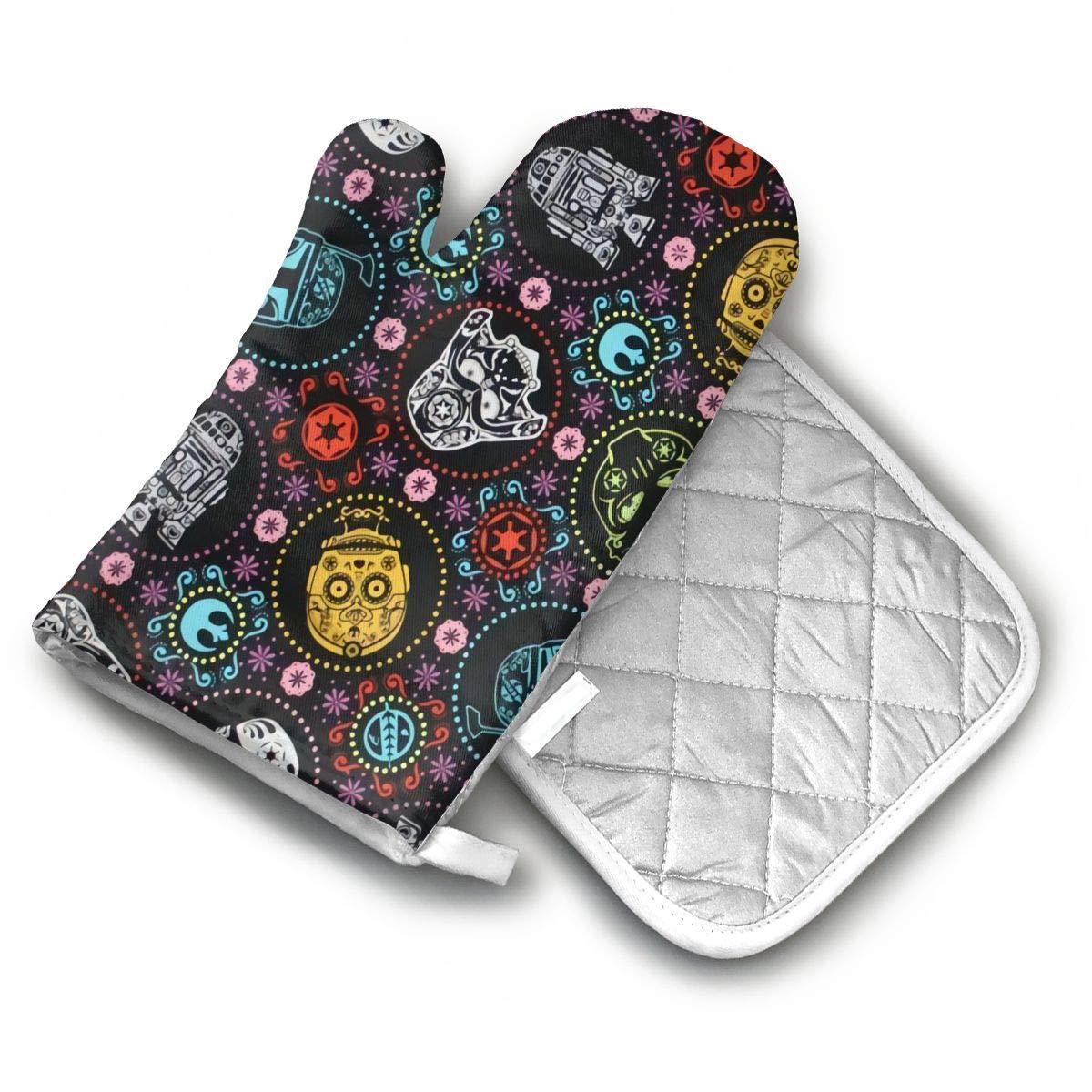 AISDHAJKSD Star Wars Premium Terylene/Nylon Oven Mitts and Pot Mat,Pot Mat/Hot Pads, Heat Resistant Gloves BBQ Kitchen
