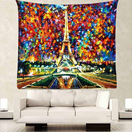 OFloral Eiffel Tower Tapestry Wall Decor By Colorful Oil Painting Design Bedroom Living Girl