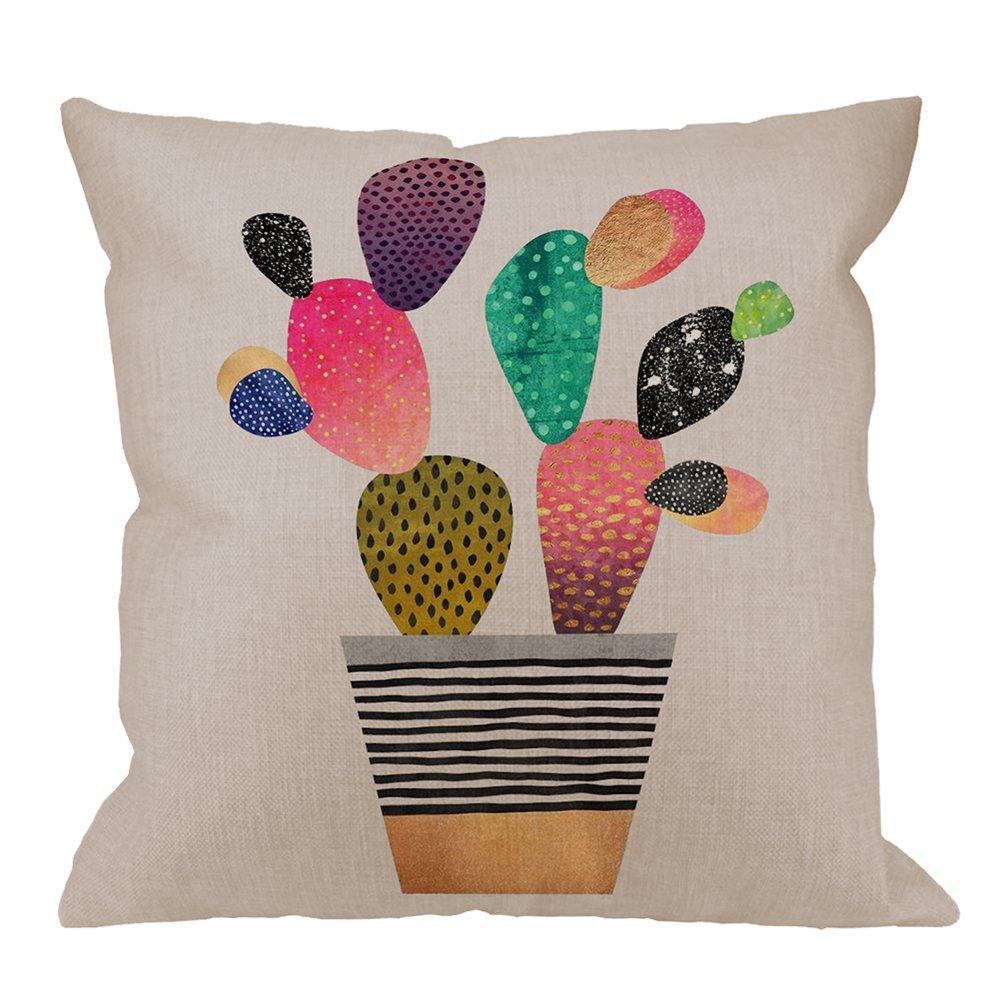Cactus Pillow Cover by HGOD DESIGNS - Cartoon Cactus on Flowerpot Cotton Linen Square Throw Pillow Case Cushion Cover Standard Pillowcase for Men Women Home Decorative Sofa Armchair 18 x 18 inch