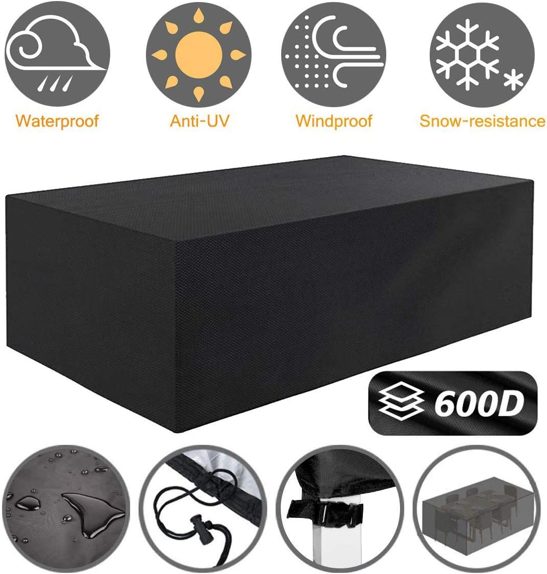 Tvird Patio Furniture Covers,96 x 64 x 40 Outdoor Furniture Covers Made of 600D Heavy Duty Oxford Fabric,Windproof Waterproof, Rain Snow Dust Wind-Proof, Anti-UV, Fits for 8 to 10 Seats Black