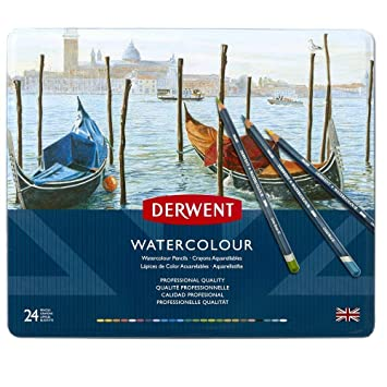 DERWENT Watercolour Pencils Tin (Set of 24) Stationery Products at amazon