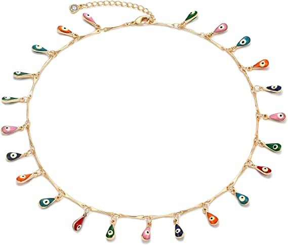Evil Eye Choker,Handmade Evil Eye Choker,Greek Evil Eye Choker,18kt Gold Filled Necklace,Delicate Choker,All Seeing Eye Delicate Choker