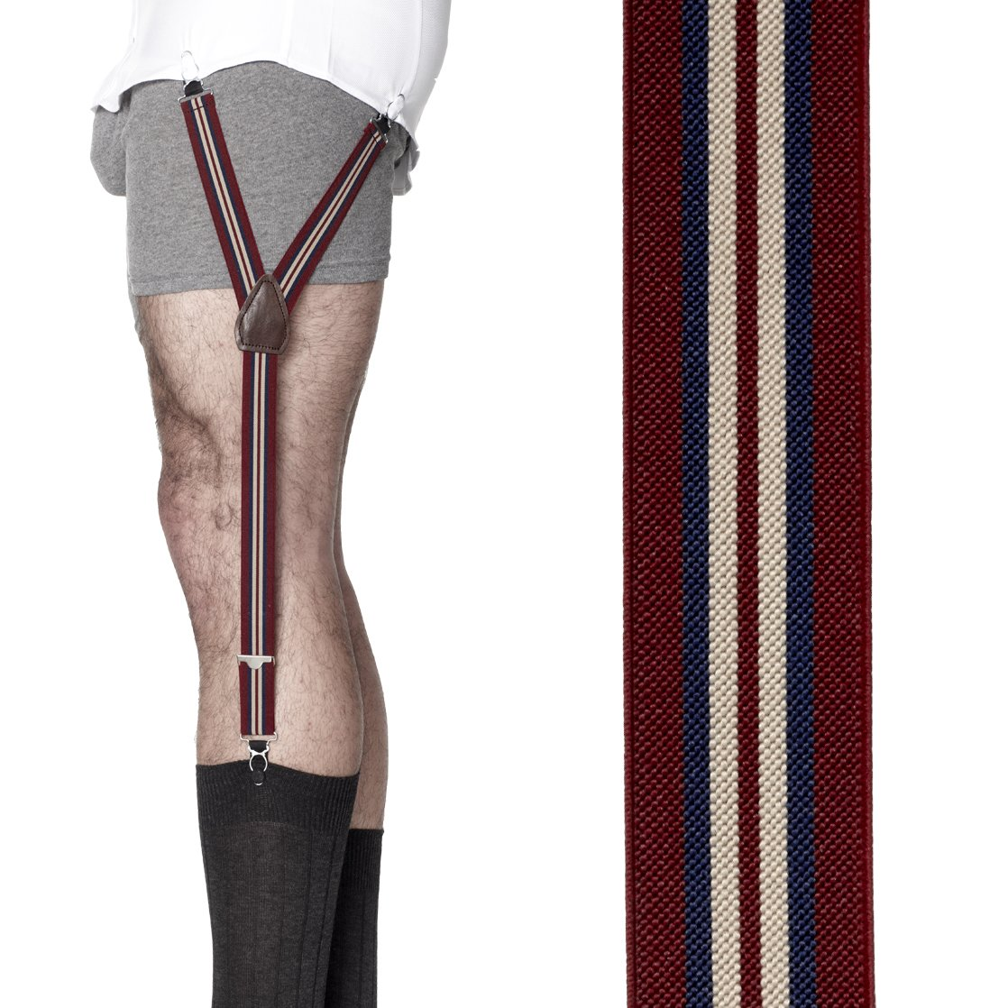 KK & Jay Supply Co. Shirttail Garters - Striped Shirt Stays (Crimson/Navy)