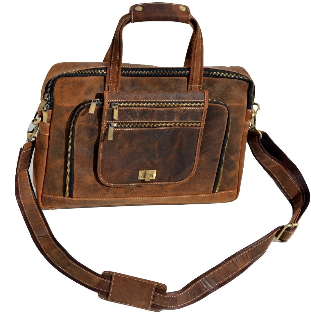 Urban Dezire Leather Laptop Messenger Bag for Men - Premium Office Briefcase Mac Book Professional College Mens Womens Side Bags