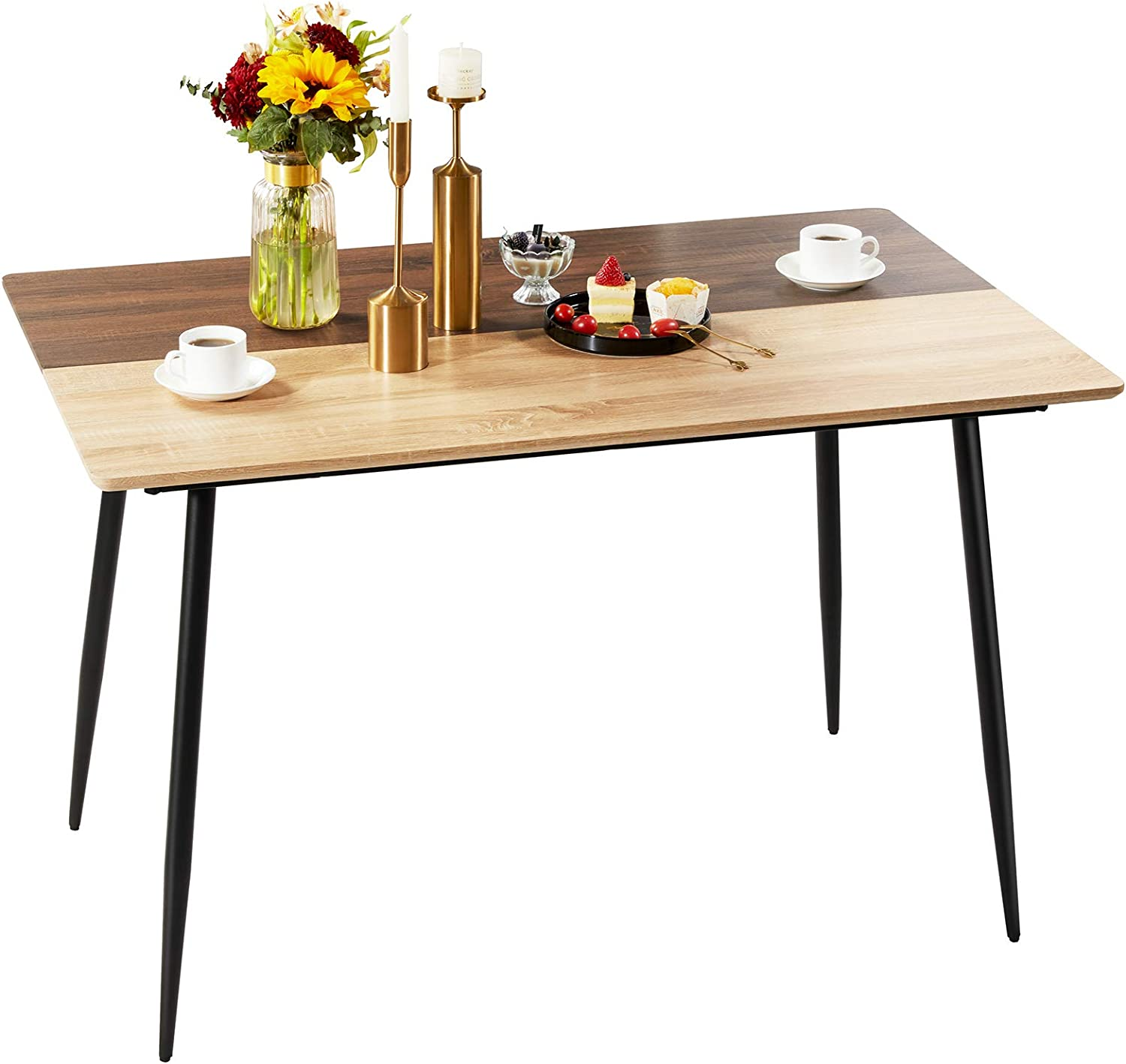 GreenForest Dining Table Modern Rectangle 47''x 30'' Kitchen Table with Two-Tone Color Top and Metal Legs, Oak and Walnut