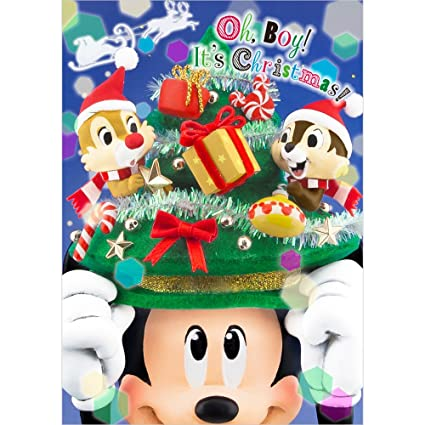 disney mickey christmas tree hat wchip and dale 3d lenticular card - Mickey Christmas Tree