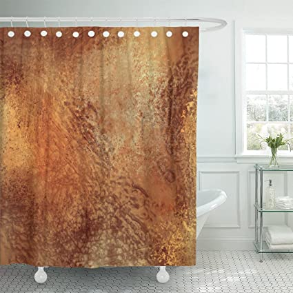 TOMPOP Shower Curtain Orange Tone Brown Warm Colored Grunge Earth Earthy Waterproof Polyester Fabric 72 X
